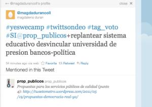 Ejemplo de tweet de voto válido pero a la vez expresando un matiz u opinión
